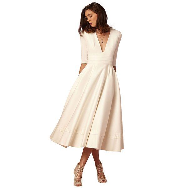 6d32602d29405 2019 New Women Vintage Dress Plunge V Neck Half Sleeve Pleated Autumn Dress  High Waist Zipper Elegant Party A Line Swing Dress Sundress On Sale ...