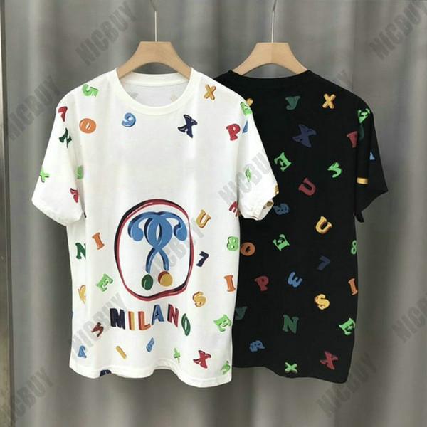 di estate del progettista di lusso del Mens vestiti tshirt grande lettera arcobaleno dell'orso di colore di stampa della maglietta T top maglietta casuale Milano manica corta