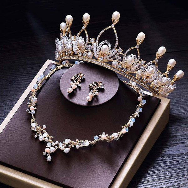 Baroque Headband Wedding Pearl Tiara Girl Crown Gold Bridal Hair Accessories Hairwear Jewelry Bride Jewellery Set Big Headpieces