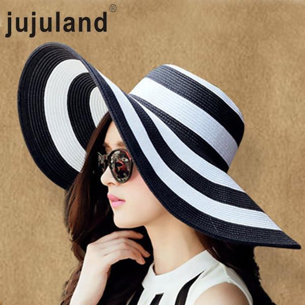 jujuland 2018 New Summer Female Sun Hats Visor Hat Big Brim Black White Striped Straw Hat Casual Outdoor Beach Caps For Women C19011401