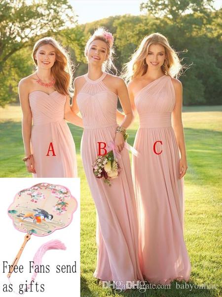 Blush Pink lungo Country Style damigella d'onore increspato una spalla Sweetheart Backless a buon mercato Maid of Honor Abiti