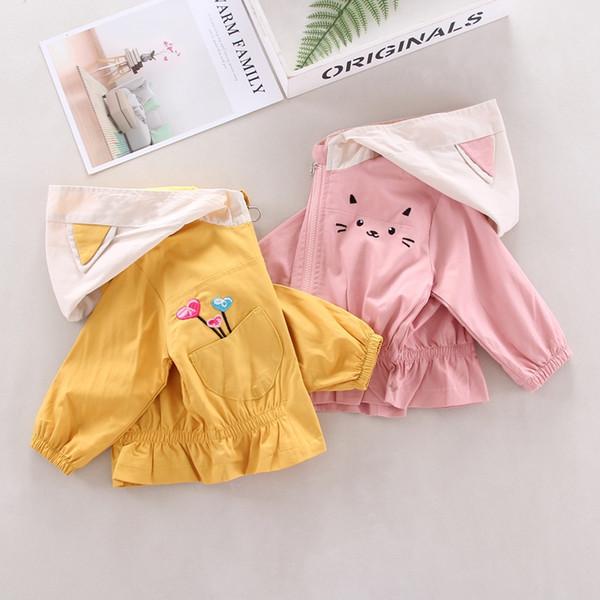 Vêtements filles coupe-vent Veste Automne Printemps fille Cartoon bonbons couleur oreille manteau à capuchon mignon Vêtements pour enfants