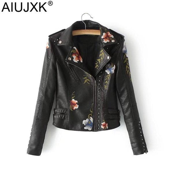 AIUJXK Women Floral Embroidery Faux Soft Leather Jacket Ladies Fashion Rivet Zipper Pu Motorcycle Short Coat Casual Outerwear