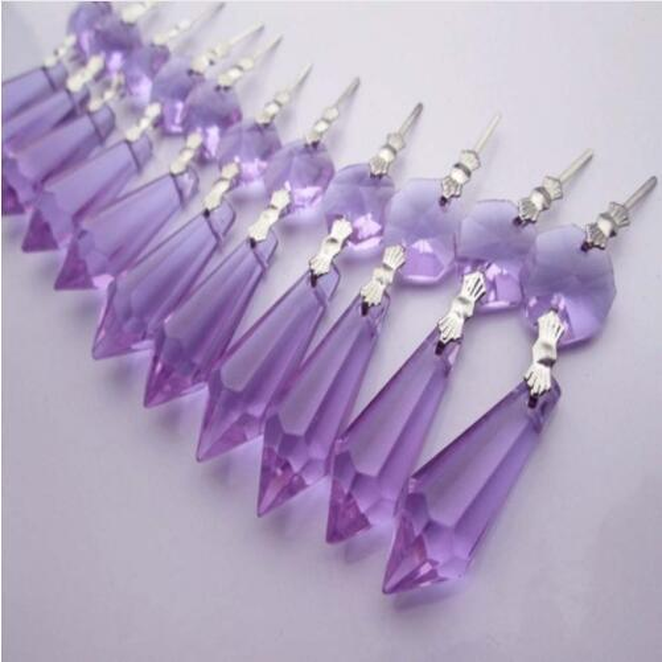 5 Dark Purple 38mm Icicle Chandelier Crystals Jewelry Supplies Pendant