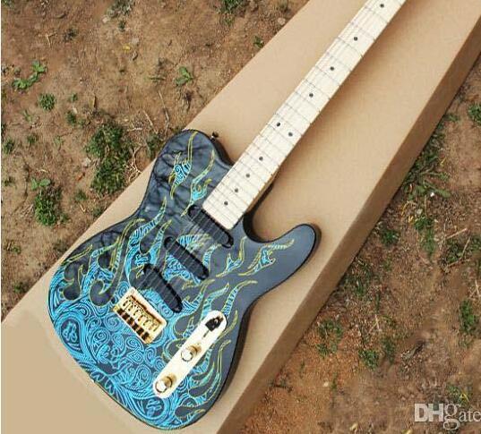 Bordo frete grátis fingerboard Assinatura do artista Burton telecas guitarra preta com chama azul elétrica A guitarra