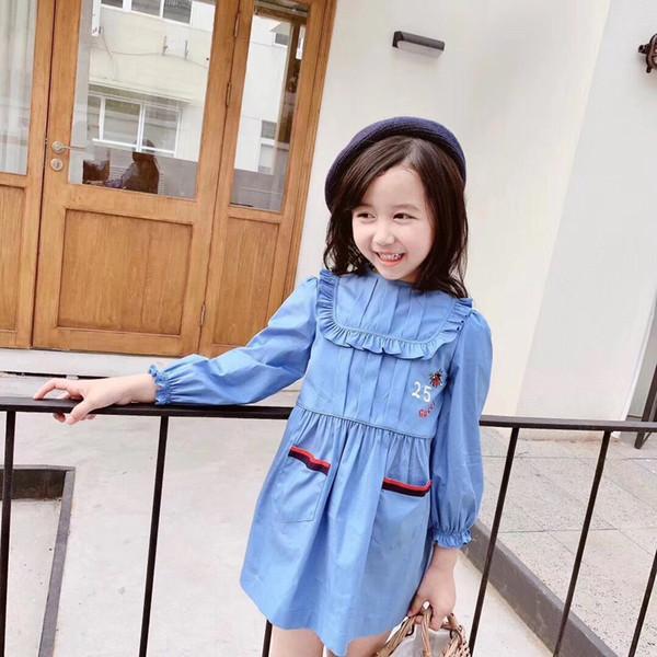En gros Nouvel Automne Enfant Enfant Fille Robe Vêtements À Manches Longues Parti Coton Bleu Robe Tops Bébé Chemises Mode Blouses