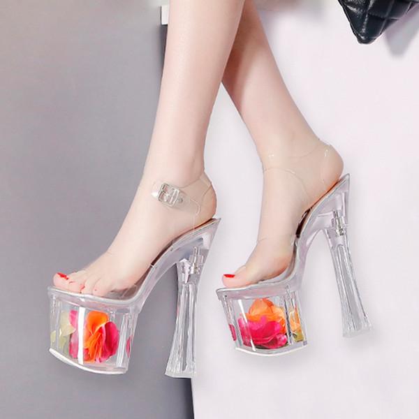 18cm Ultra high heels floral crystal transparent platform sandals bride designer shoes size 34 to 39