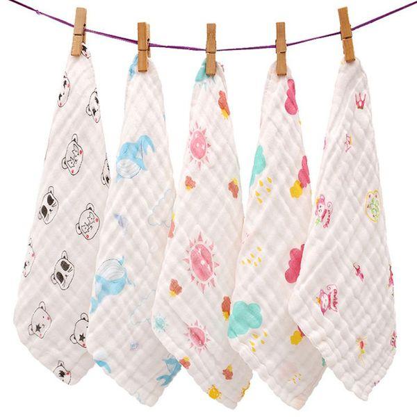 Muslin baby towel Newborns 6 Layers Gauze 25*25cm Cotton Bath towel Saliva Feeding Slobber Kids Handkerchiefs F06