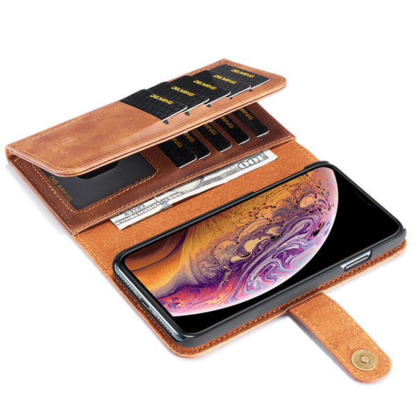 wholesale Luxury Genuine Leather 3 Fold Wallet Case for Apple Iphone X XS Max XR 6S 7 8 Plus Cash Card Pocket Removeable Back Case
