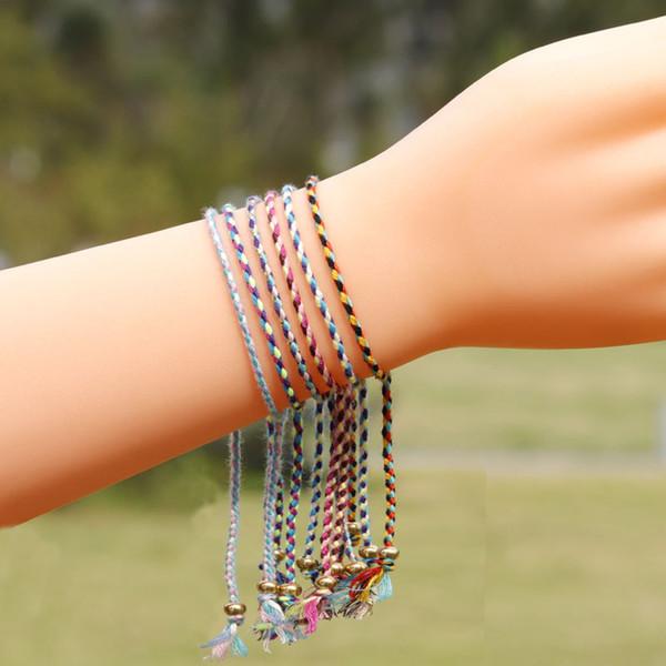 Kupfer Kornejustierbare Armbänder Bohemian Freundschaft gesponnenes Armband bunte Schnur geflochtenes Armband Fußkettchen für Frauen Weihnachtsgeschenke YY