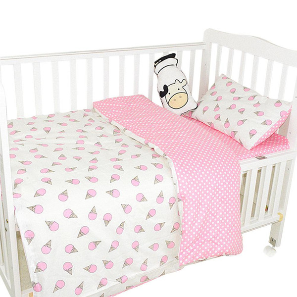 Baby Bedding Set Cotton Crib Bedding Set Baby Cot Protector Safe Bumpers Bed Sheet Quilt Cover Pillowcase
