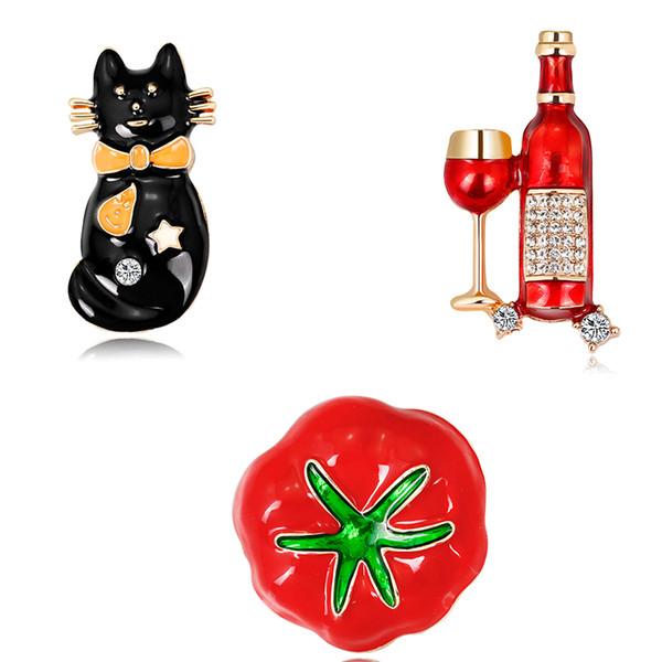 fashion funny Halloween Enamel cat Brooch personalized design enamel Red Wine Glass With Bottle Gold Plating Rhinestone Brooch Pin