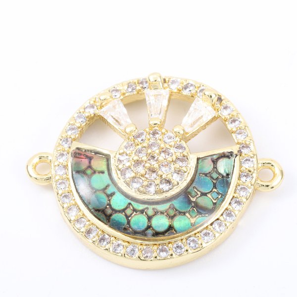 Singreal Abalone Shell Micro Pave Rong Sun Charms Bracelet necklace Choker Pendant connectors for women DIY Jewelry making