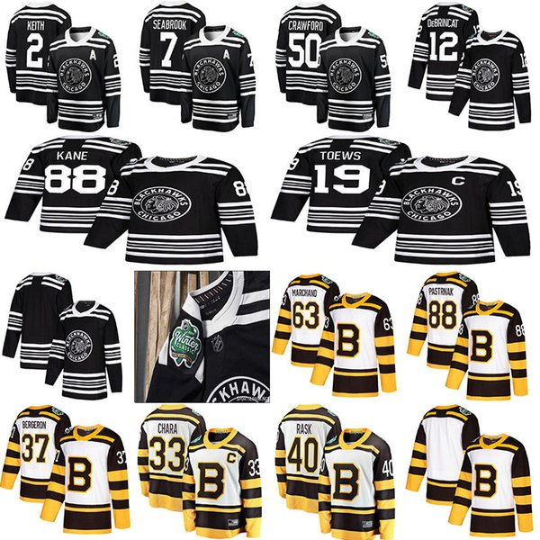 2019 winter classic chicago blackhawks boston bruins toews debrincat patrick kane seabrook crawford pastrnak bergeron marchand chara hockey, Black;red