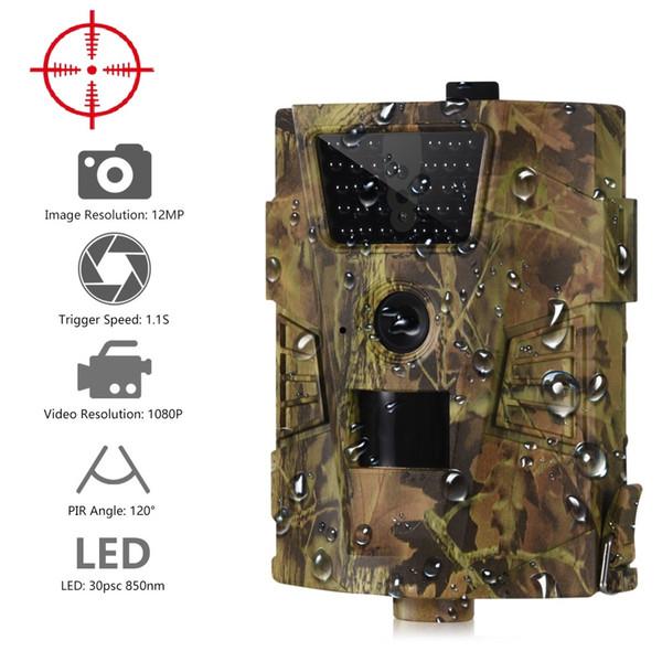 Suntekcam HT-001B Telecamera da pista 12MP 1080P 30pcs LED a infrarossi 850nm Telecamera da caccia IP54 Impermeabile 120 gradi angolo Camera selvaggia