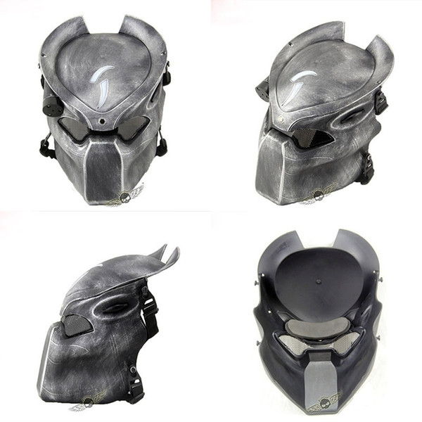 Alien Vs Predator Lonely Wolf Mask With Lamp Outdoor Wargame Tactical Mask Full Face Cs Mask Halloween Party J190710