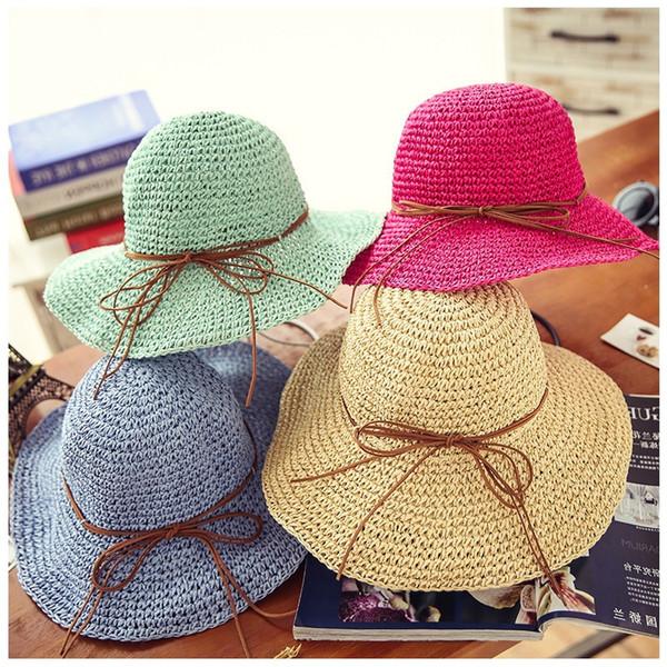 Yaz yeni moda buğday Panama güneş şapkası plaj şapka şerit yay 10 RENK deniz tarzı hasır şapka kadın kap düğüm