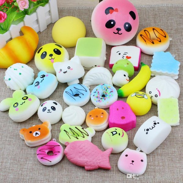 2018 Kawaii Squishies Bun Toast Donut Bread for cell phone Bag Charm Straps Wholesale mixed Rare Squishy slow rising lanyard scented