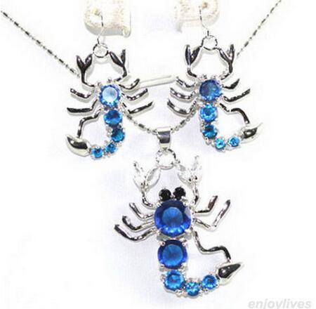 women good Blue Zirconia Crystal Scorpion Pendant Earrings & Necklace real Natural gem stone 925 silver Ladies Jewelry