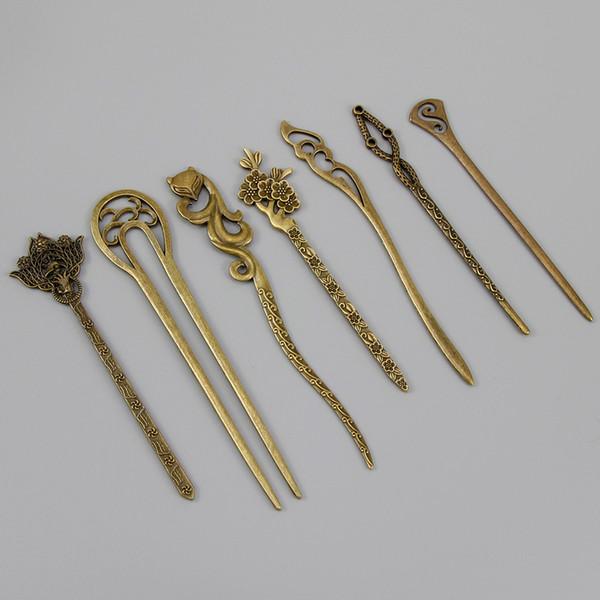 New Bronze Vintage Hair Sticks 17 Styles Headbands For Women Elegance Lady Hairpins Fashion Alloy Hair Clip Hair Accessories D19011502