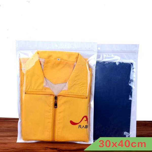 30 * 40 см 100 шт. / Лот прозрачный + белая одежда пакет молния сумка с отверстием вешалка многоразовые пластиковые поли пакет молния пакет сумка сумка