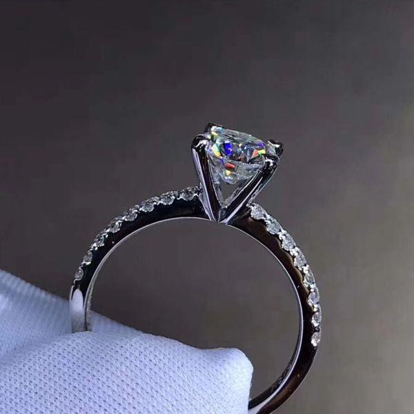 925 Moissanite Ring 4 artiglio stile classico anello di nozze su ordine gioielli anniversario 1ct 2ct 3CT Lab Diamante