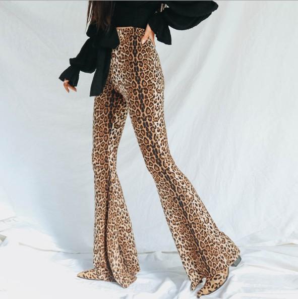 Womens Hosen Herbst und Winter New Elastic High Waist Leopard Flare Hosen Frauen Hosen Fashion Style