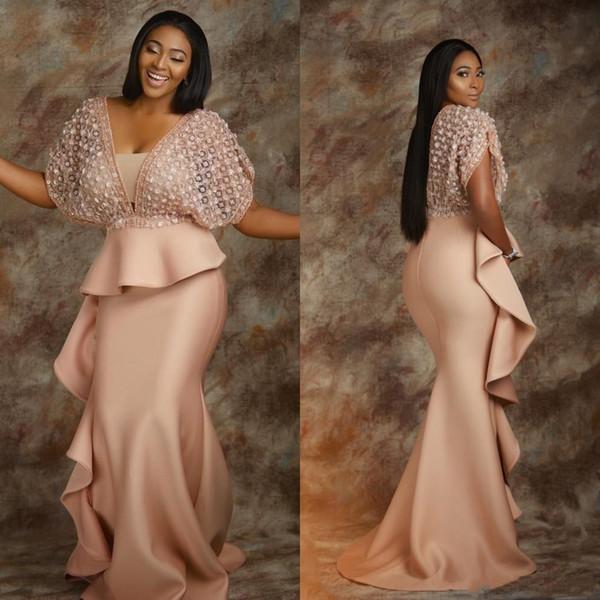 Aso Ebi 2019 Artı Boyutu Mermaid Gelinlik Modelleri Dantel Saten Fırfır Peplum Örgün Abiye giyim V Yaka elbiseler de bal Afrika Arapça Kadınlar Elbise