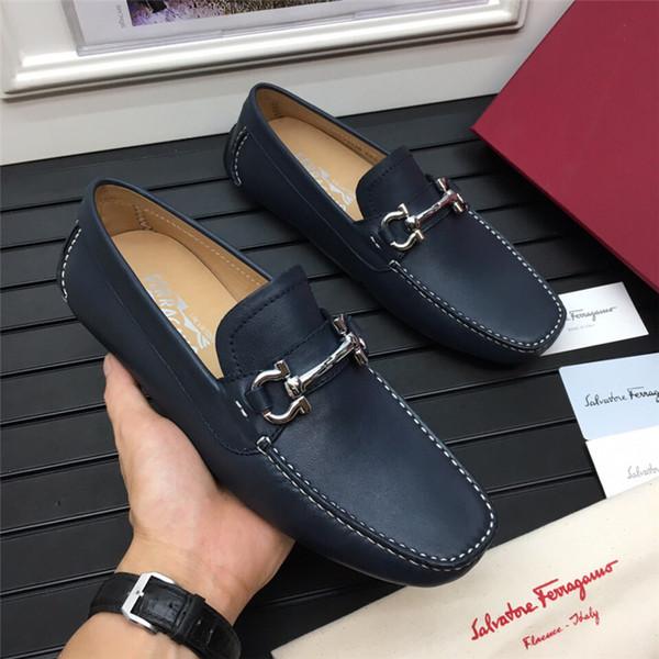 2019ss homens de couro real sapatos de negócios de luxo designer de lazer de alta qualidade e negócios fio branco de costura decoração corrente de metal