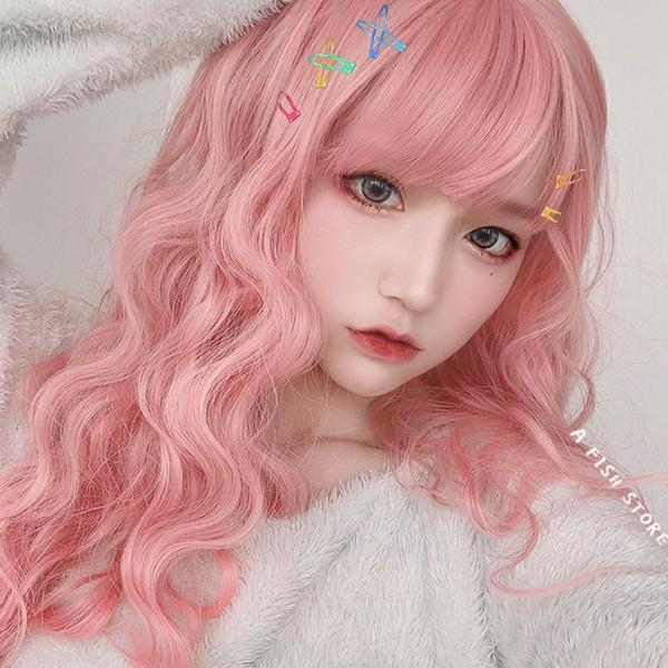 Peruca feminina luz rosa ondulado Teddy macarrão instantâneo rolo longo cabelo encaracolado capuz respirável senhoras ao vivo cabelo cru falso