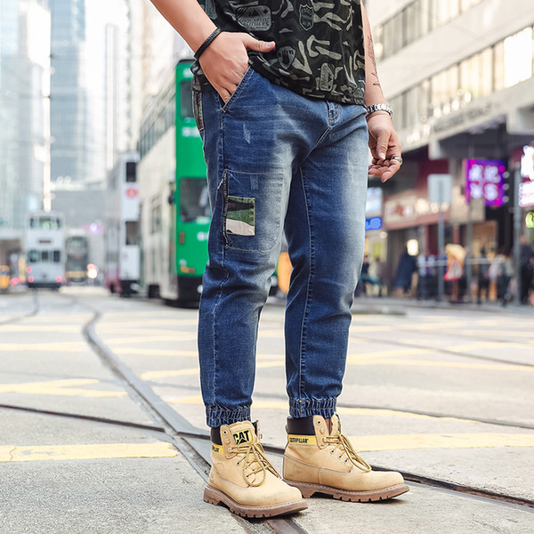2019 New Straight Personality Trend Men Jeans Destroy Pants Large Size S  6XL Retro Camouflage Patch Hole Male Personality Trousers From Wochanmei,