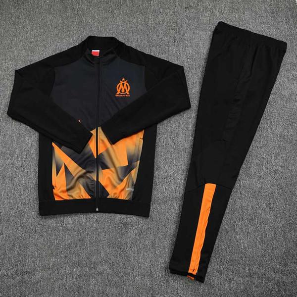 2019 2020 Olimpik Marsilya Kapşonlu ceket eşofman Survetement 18 19 20 PAYET THAUVIN OM kapüşonlu Futbol ceket koşu antrenmanı takım elbise