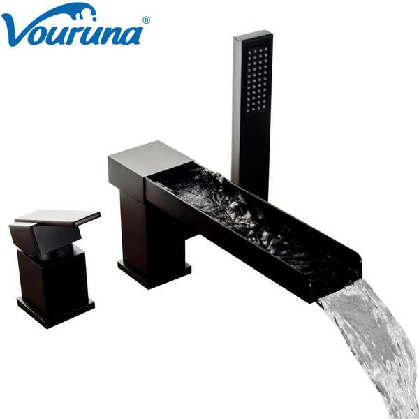 Acheter VOURUNA Robinet De Baignoire 3 Pièces Cascade Noire Moderne Et  Mastic Pour Baignoire Romaine Avec Douchette De $215.64 Du Vouruna |  DHgate.Com