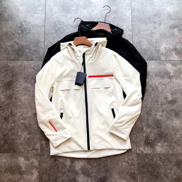 Новый бренд весна и осень мужская спорт на открытом воздухе повседневная ветровка куртка с капюшоном спортивная куртка для бега M-3XL белый черный