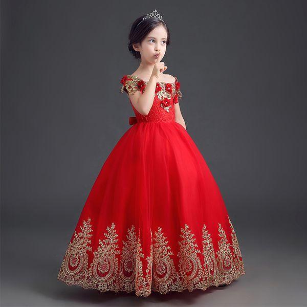 Formelle bodenlangen Blumen-Mädchen-Kleid-Mädchen Lange Prinzessin Brithday Applique Ballkleid Kinderkleider