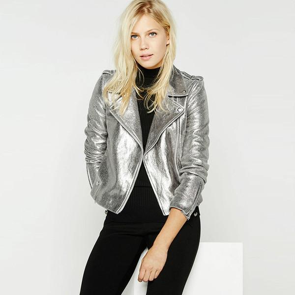 Kadınlar Gümüş Parlak Motosiklet Biker Ceket Punk Rock Kısa Coat Fermuar Dış Giyim F