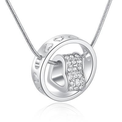 Colgante del corazón collar superventas de plata y oro de 18 k Jewlery níquel libre Rhinestone moda sin cuello para mujeres YD0077