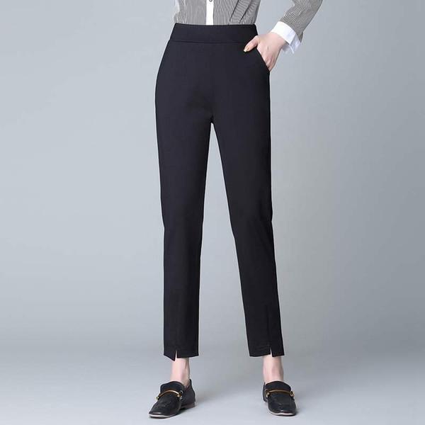 GIGOGOU Split Up Long Pants Women Elastic Waist Pocket OL Style Work Trousers 2019 Spring Mid Waist Long Harem Pants Female