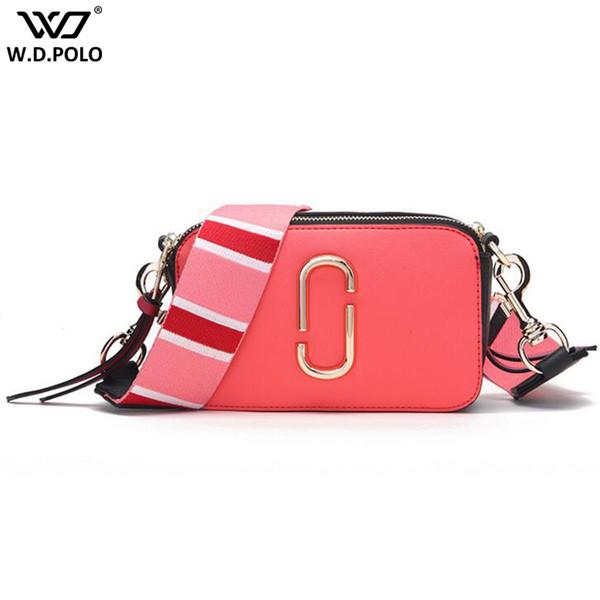WDPOLO Design Da Marca de Moda Nova Câmera Bolsas de Couro Rachado Mulheres Cor Alça Combinada Bolsas de Ombro Chique Saco Das Mulheres Q0214