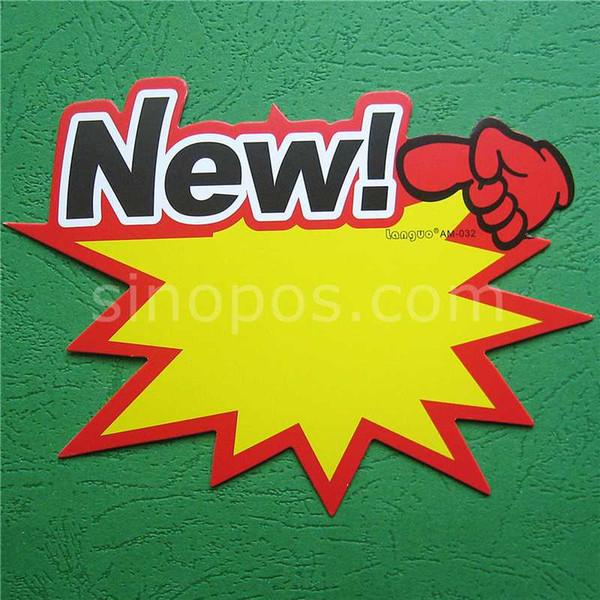 Nuovo arrivo Burst Carte Prezzo, stella di carta colorata segno fuoco d'artificio carta di prezzi del display banner pubblicitari marchi segni manifesto