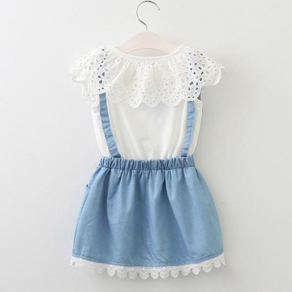 Retail Baby Girls Fake Two Piece suspender Dress New Korean Fashion Petal Collar Lace Appliques Cotton Dresses Kids Design Clothes Clothing