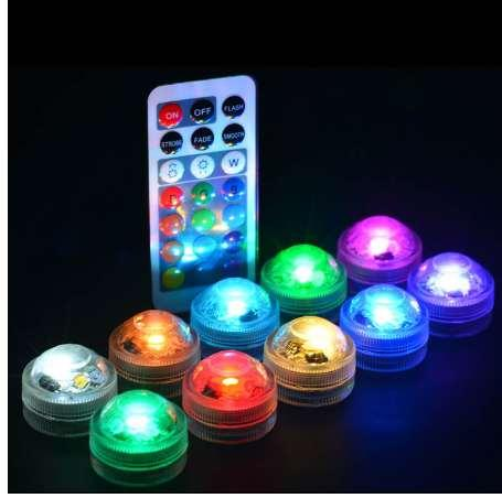 Waterproof LED Aquarium Light 1Pcs Remote Controller Round Shaped Fish Tank Decoration Candle Lamp Plastic Colorful