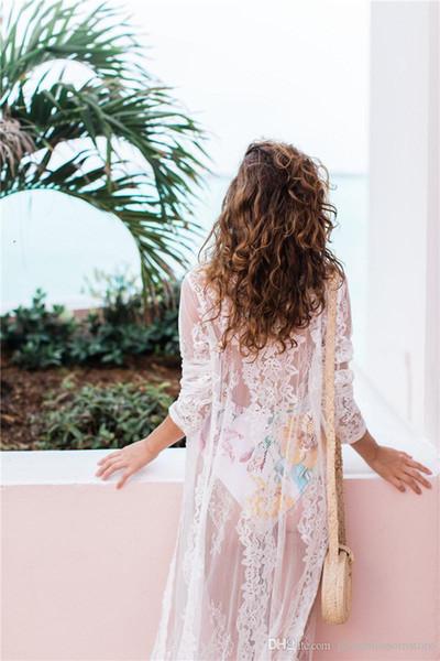 New Transparent White Lace Tunic Bikini Beach Cover Up Plus Size Women Beachwear Sexy See Through Bikini Cover-Ups Lace Long Cardigan Kimono