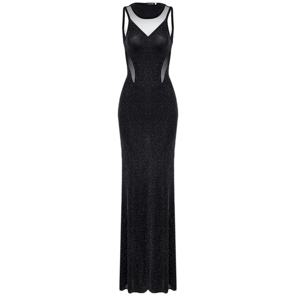 Stylish See-through Spliced Beaded Backless Evening Gown Mermaid Dress for Women