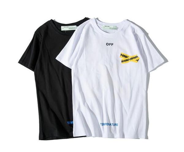 19SS street fashion printemps et été nouveau T-shirt homme sauvage avec cordon jaune à manches courtes amants hommes et femmes
