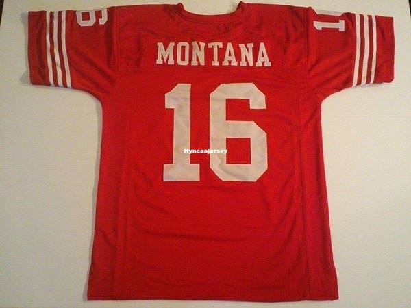 Дешевые ретро пользовательские сшитые сшитые # 16 Джо Монтана Красный Митчелл Несс Джерси высокого класса мужские футбольные майки колледж NCAA