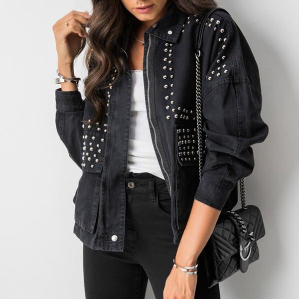 Herbst-Frauen Harajuku Rivet-Jacken-Mantel kühle kurze schwarze Jeans Jacke Studentengrund Mantel Outfit Langarm Zipper weiblich