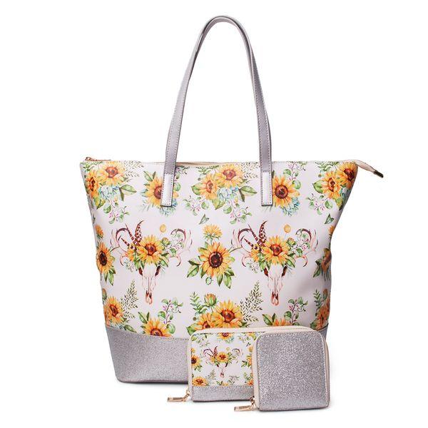 Оптовая искусственная кожа подсолнечника Weekender сумка Bullskull сумки установить большие индивидуальные сумки женщины блеск сумки плеча 3 в 1 сумки DOM1278