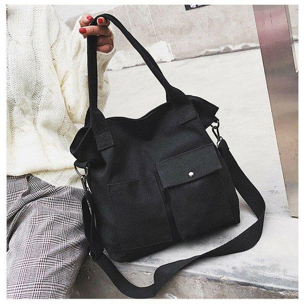 Neue Frauen beiläufige Segeltuch-feste schwarze weiße Schulter-Beutel-Handtaschen-Dame Portable Large Capacity Cross Body Bag