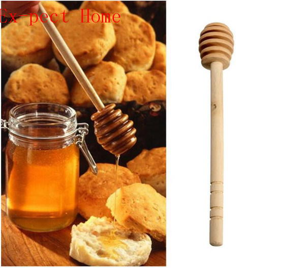 300pcs/lot Fast shipping Wooden Stirrers Honey Dipper Wood Honey Spoon Stick for Jar Stick Collect Dispense Tool